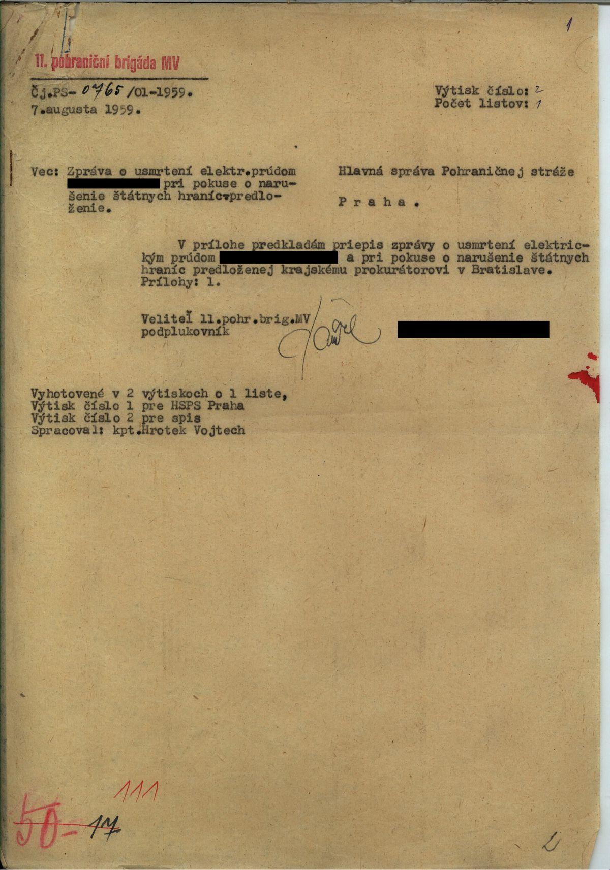 Správa o usmrtení pri pokuse o prekročenie hraníc z augusta 1959.