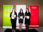 """Ocenenie Zdravá firma roka """"Nevýrobné firmy""""- zľava: Andrea Cobejová ( Siemens, s.r.o.), Zuzana Popluhárová ( Orange Slovensko, a.s.), Ľubomíra Roxor ( AT&T Global network Services Slovakia, s.r.o)"""