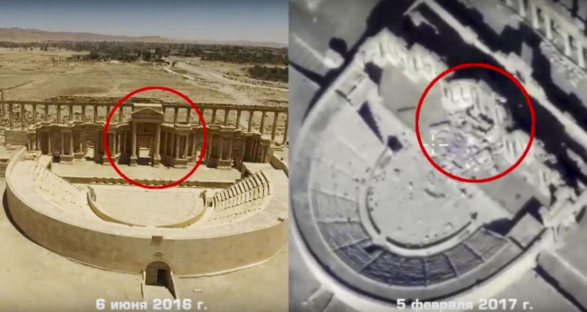 Na kombinovanej fotografii urobenej pomocou dronov nad Palmýrou a poskytnutej ruským ministerstvom obrany vidieť stav rímskeho divadla v júni 2016 (vľavo) a čo z neho ostalo 5. februára tohto roku.
