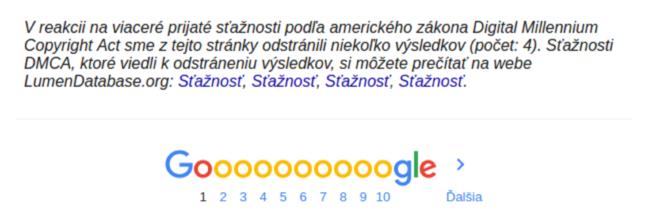 Google na blokované odkazy upozorňuje hlásením vo výsledkoch vyhľadávania.