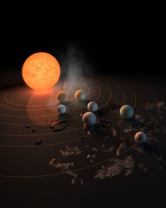 Sústava siedmich planét podobných Zemi okolo hviezdy TRAPPIST–1, vzdialenej 40 svetelných rokov.