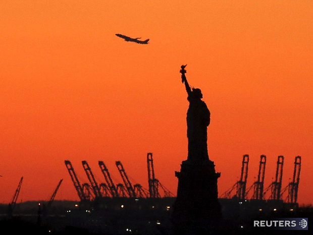 lietadlo, Socha slobody, New York, USA, New Jersey