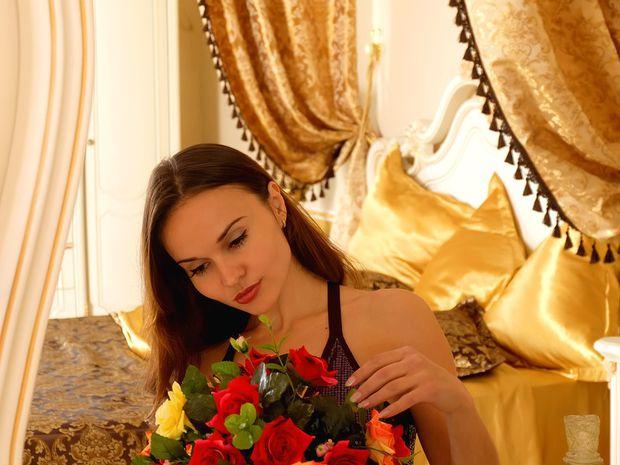 žena, kvety