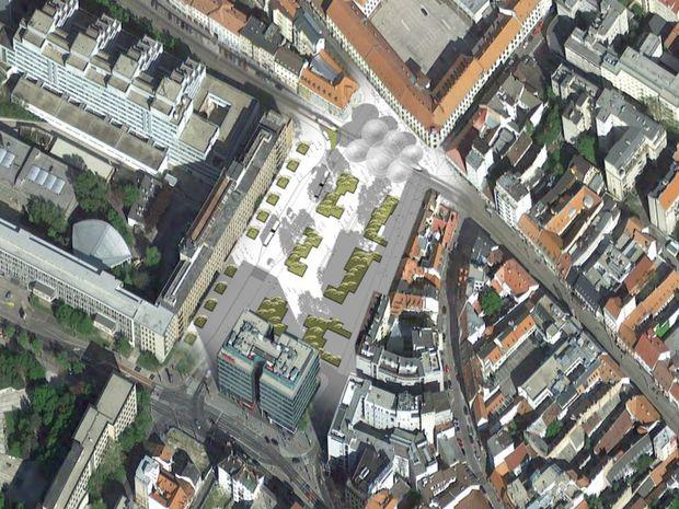 Automobilovej doprave by mohla postačiť iba východná strana Kollárovho námestia ( pred Chemicko-technologickou fakultou). Strana pred Novou scénou by sa mohla premeniť na pešiu zónu.