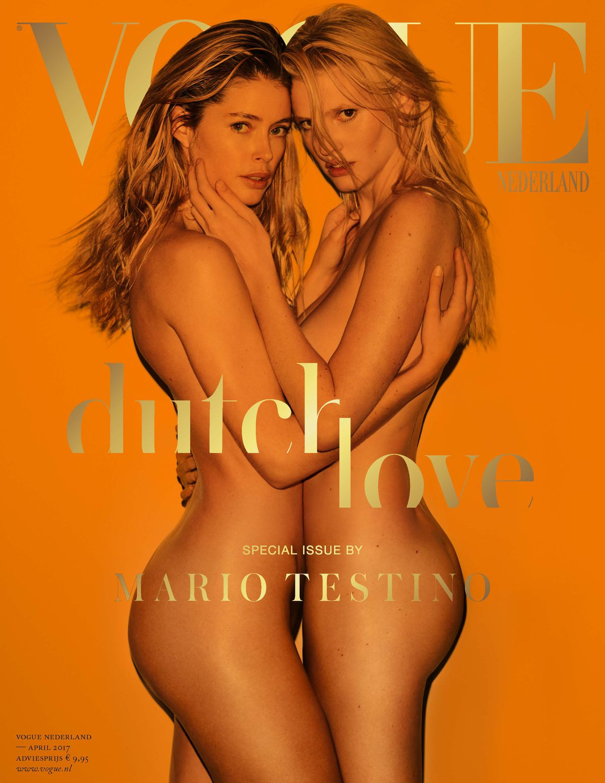 Modelky Lara Stone (vpravo) a Doutzen Kroes na titulnej strane magazínu Vogue Nederland.