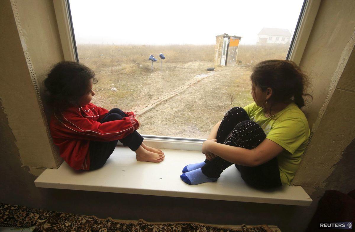 deti, okno, dievčatá, výhľad