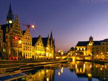 Gent, Belgicko, večer, mesto, kanál, noc