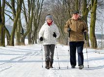 zima, sneh, paličky, mráz, dovolenka, dvojica, dôchodcovia, starí, turisti