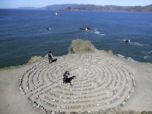 Kalifornia, pobrežie, more, labyrint