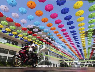 Malajzia, dáždniky, motorka