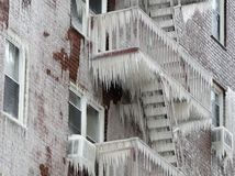 New York, mráz, cencúle, zima, mráz, požiarne schodisko, Yonkers Apartment budova,