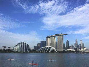 Singapur, The Marina Bays Sands Hotel, kajaky
