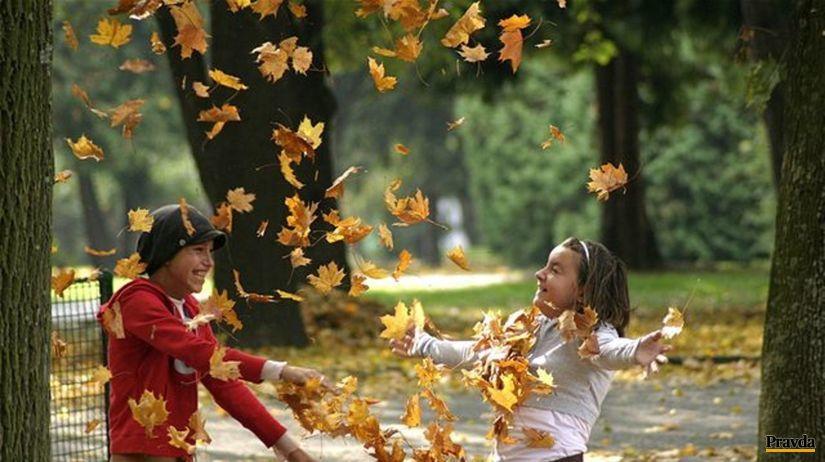 lístie, listy, jeseň, počasie, deti