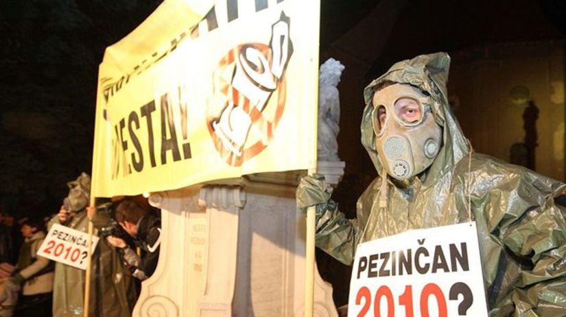 Pezinok, skládka, protest