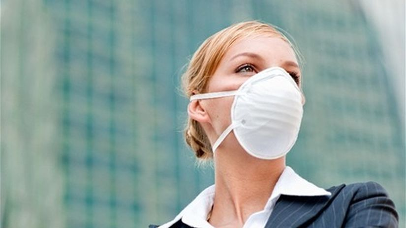 žena, rúška, chrípka, ochrana, zdravie