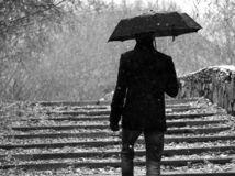 sneh, dážď, dáždnik, počasie, zima