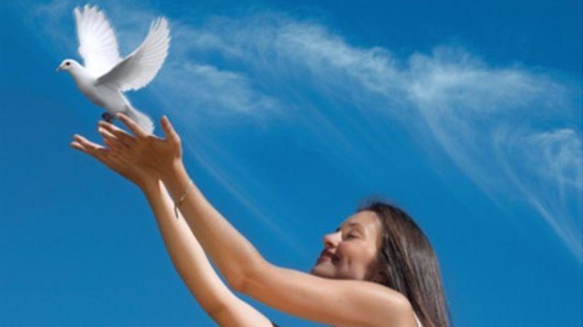 šťastie, žena, holub, holubica, voľnosť,...