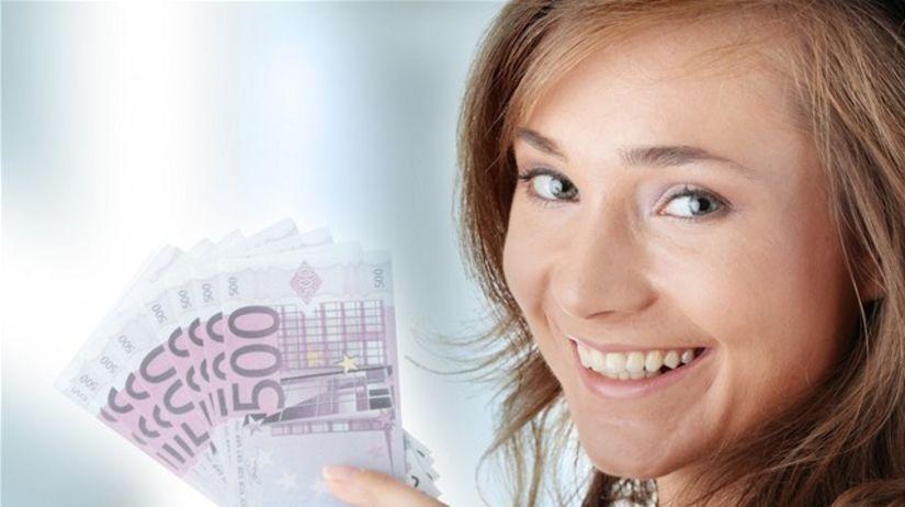 teta, žena, peniaze, euro, bankovky, sporenie,...