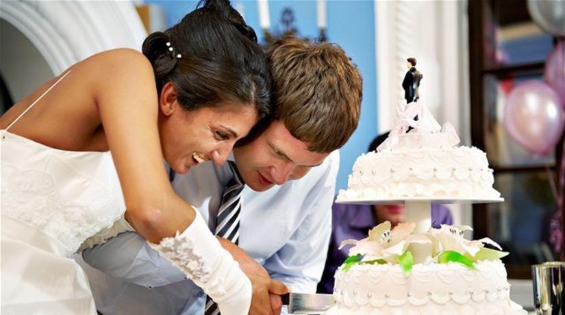 svadba, manželia, rodina, torta, mladomanželia