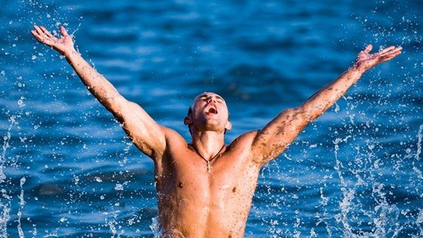 plávanie, radosť, skok, voda, more, dovolenka,...