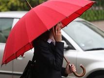dážď, dáždnik, búrka, žena, jeseň, počasie