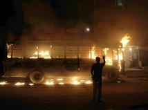 autobus, pakistan, nepokoje, oheň, požiar