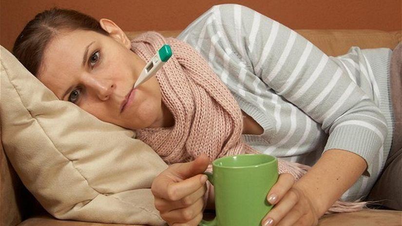 chrípka, choroba, PN, teplomer, vírus, nemocenské