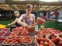 jahody, ovocie, tržnica, nákup, jahoda