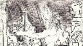 Pablo Picasso: Slepý Minotaurus sprevádzaný dievčatkom II. (výrez)