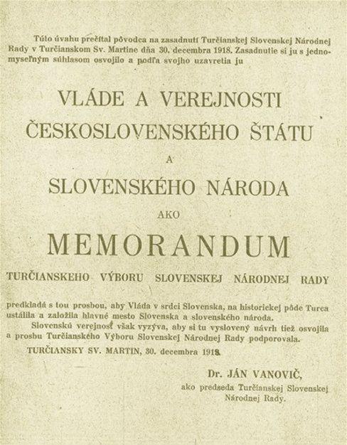 Titulná strana memoranda, žiadajúceho, aby sa Martin stal hlavným mestom Slovenska.