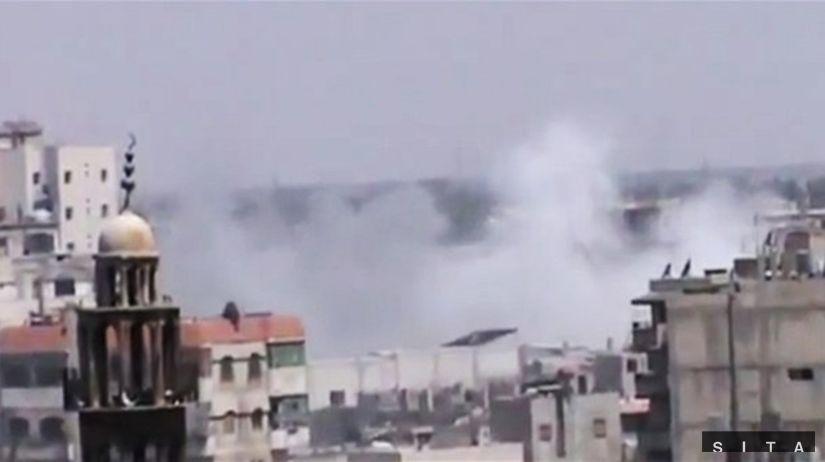 Sýria, výbuch, dym