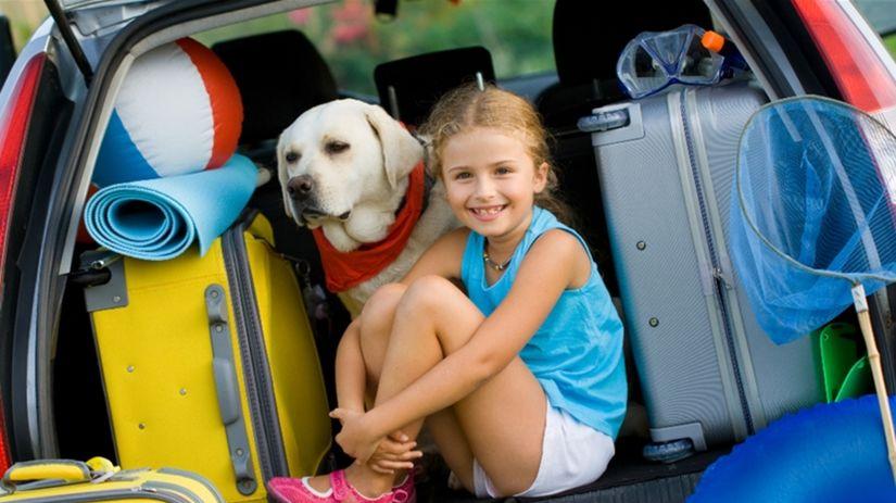 dovolenka, batožina, kufor auta, dieťa, pes,...