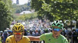 Peter Sagan a víťaz Tour Bradley Wiggins