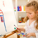 detstvo, dieťa, kreslenie, maľovanie, dom, dievčatko