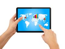 tablet, výnosy, obchod, ekonomika, globalizácia, graf, hospodársky výsledok