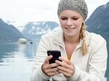 počasie, mobil, jazero, žena, sms