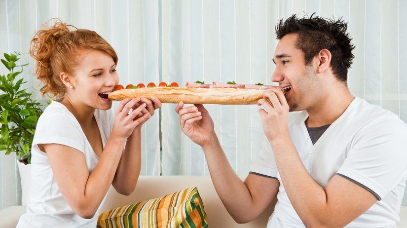 jedlo, strava, výživa, bageta, jesť, jedenie