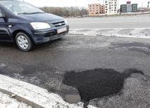 Cesta, výtlk, auto, oprava, asfalt