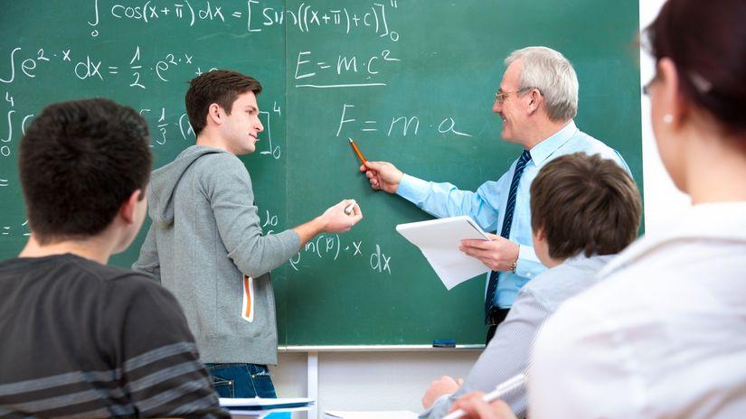 študenti, učiteľ, tabula, škola, matematika,...