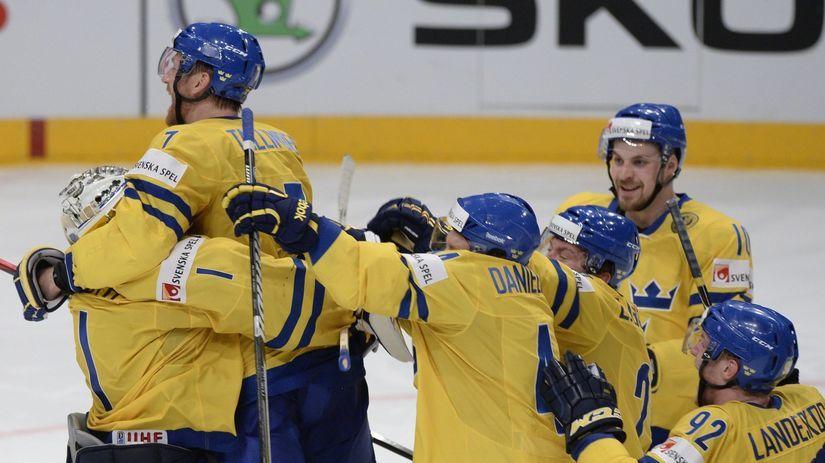 Švédsko, hokej, MS, radosť