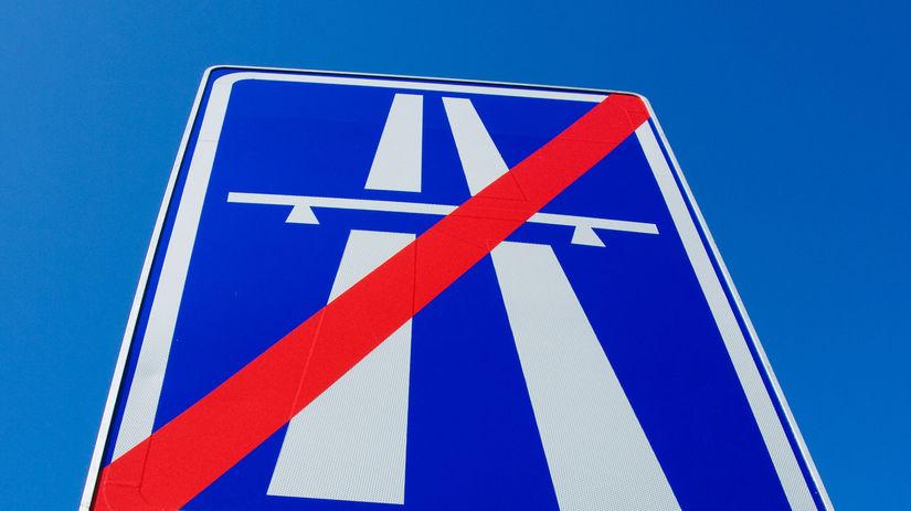 Koniec diaľnice, diaľnica, značka