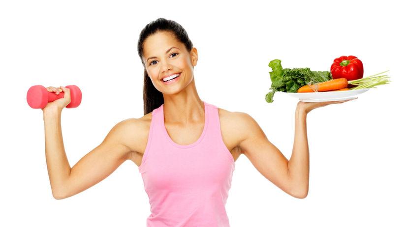zdravá strava, žena cvičí, zdravie