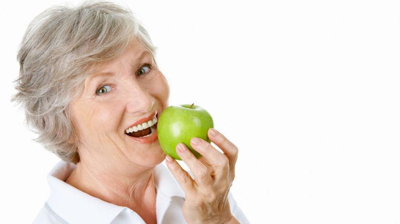 žena, staroba, strava, ovocie, jablko