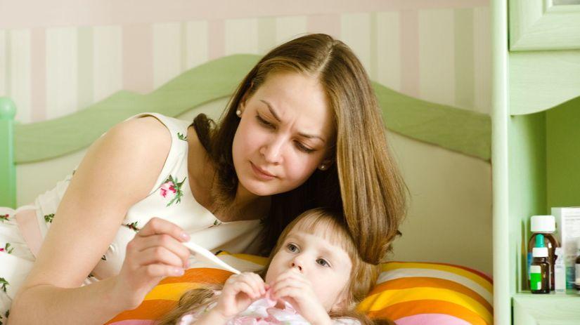 dieťa, matka, choroba, teplota, teplomer