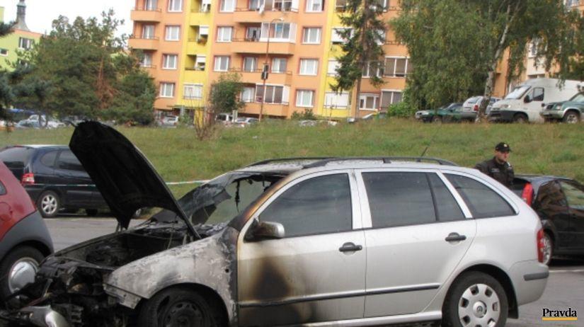 auto, zhorené auto, podpaľačstvo