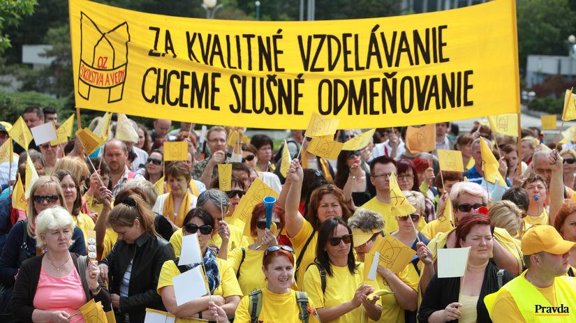 protest, školstvo, učitelia, platy