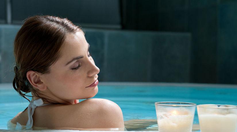 kúpele, bazén, voda, relax, sviečka