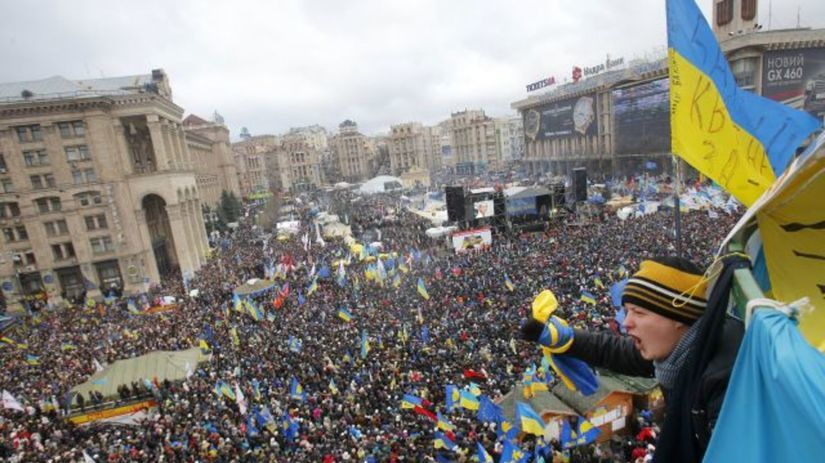 Ukrajina, protest, demonštrácie, Kyjev