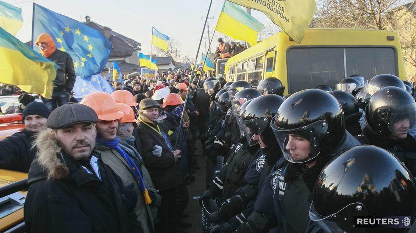 Ukrajina, protest, Novi Petrivtsi