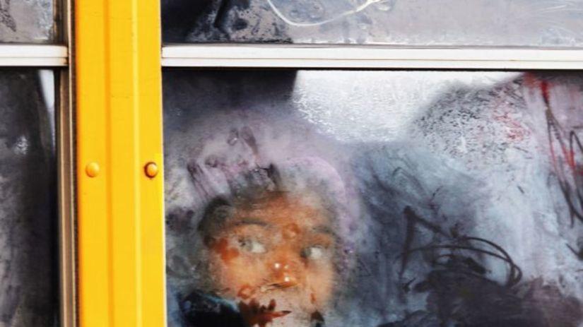 mráz, ľad, študent, sneh, autobus, počasie